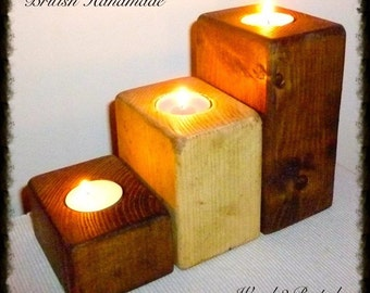 Hand Made Wood Trio of Candle Holders