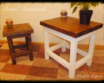 Hand Made Wood Side Table(s) - Rustic or Shabby Chic Design Available