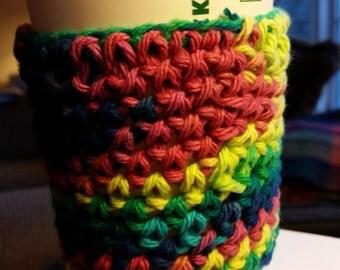 Handmade crochet Mug Cozy multi color