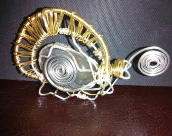 On sale!! Turtle steampunk wire wrapped pendant!