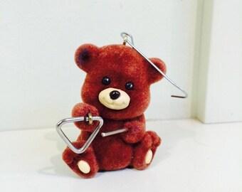 Hallmark Cards Ornament, Musical Bear, 1989 Hallmark Flocked Bear
