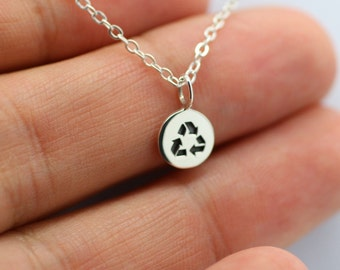 RECYCLE NECKLACE - 925 Sterling Silver Recycle Symbol Renew Reuse *NEW* Pendant