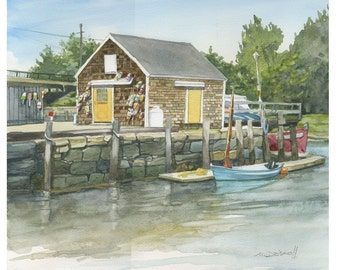"""Portsmouth NH """" Yellow Doors"""" Original Watercolor Portsmouth Harbor Seascape Matted and backed"""