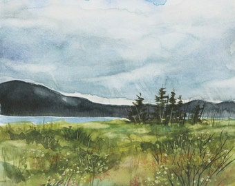 Sun Soon Original Watercolor Maine Landscape matted and frame ready