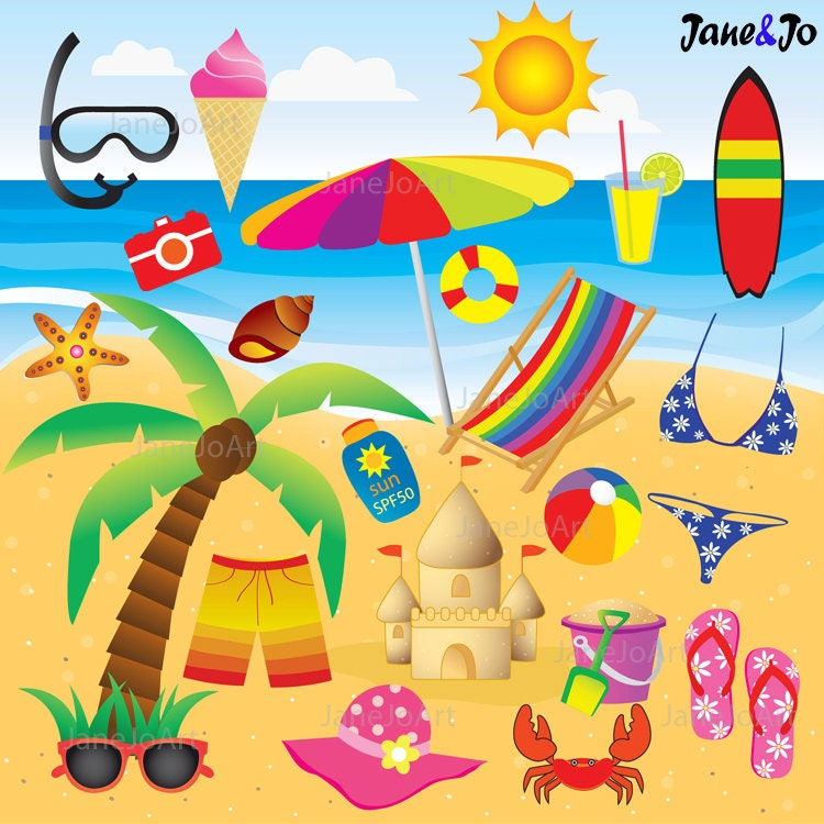 50% OFF SALE 22 Beach Clipart + FREE 12 Digital Papers ...