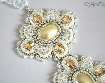 Bead embroidery wedding necklace, Beaded necklace, Beaded jewelry, Embroidery necklace - The white swan
