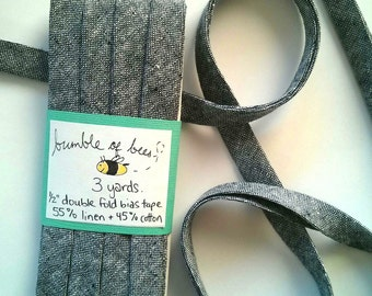 "Indigo Chambray Robert Kaufman Essex Yarn Dyed Double Fold Bias Tape - 3 yards, 1/2"" wide"