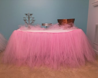 Pink Tutu Table Skirt for Weddings, Baby Showers, Kids Birthday- Other color options available