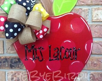 An apple a day...teacher door hanger, school door hanger, apple door sign, apple door hanger, teacher decor, classroom decor