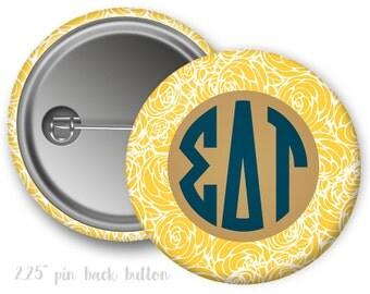 "SDT Sigma Delta Tau Floral Monogram Single or Bulk 2.25"" Pinback Button"