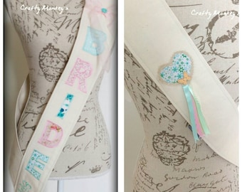 Handmade. Vintage. Fabric. Bridesmaid Sash. Bridal Party Sash. Sash. Bride Sash. Bachelorette Sash. Hen Party. Personalised. Unique.