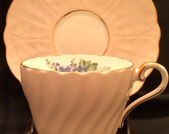 1950s Aynsley English Bone China Ribbed Pattern Off White Colored Teacup and Saucer