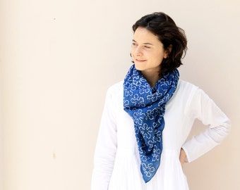 Tie Dye Bandhani Cotton Scarf Hand Dyed Summer Bandanas Summer Accessories Wraps Indigo Scarf