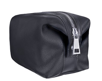 Vegan Leather Toiletry Bag - Black with Silver Zipper