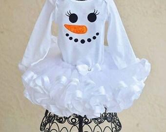 Adorable Snowman Snowgirl applique Tutu set outfit White Christmas Holiday
