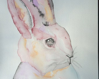 Rabbit Original Watercolour Wall Art