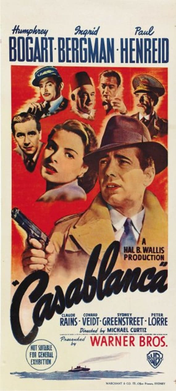 Casablanca movie poster banner by thepopcultureshop on etsy for Poster casablanca