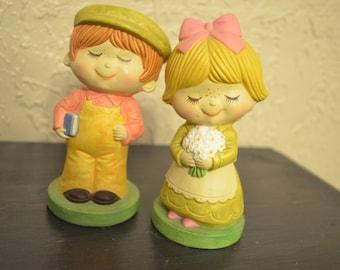 Pair of Vintage Norleans Korea figurines - Girl & Boy