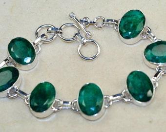 Classy Emerald & 925 Sterling Silver Bracelet