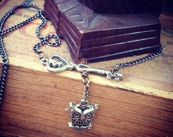 Heart Key and Owl Pendant Necklace