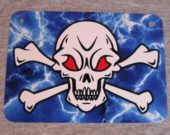 Metal Sign SKULL & CROSSBONES jolly roger evil wicked lightning skulls death lightning