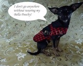 Red & Black Couture Houndstooth Coat with 24K Gold Buttons by Bella Poochy TM