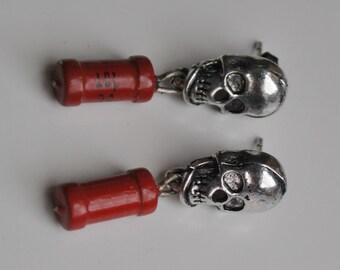 Skull with vintage USSR resistor earrings