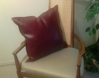 Burgundy Bonded Leather Pillow #08