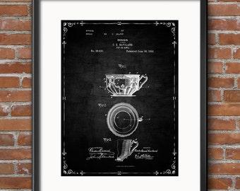 Tea Cup Poster, Tea Cup Patent, Tea Cup Print, Tea Cup Art, Tea Cup Decor, Tea Cup Wall Art, Tea Cup Blueprint - 0454