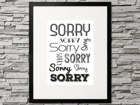 Current image within printable sorry card