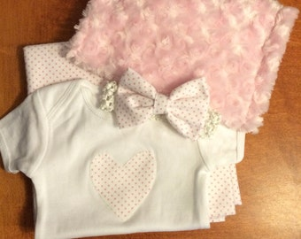 Hand Appliqued Onesie and Matching Burp Cloth, Receiving Blanket & Bow Headband!