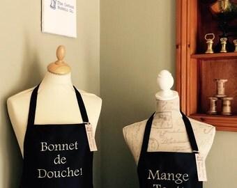 Men's Apron  Black Mange Tout / Bonnet de Douche Black Aprons Del Boy Only Fools and Horses Men's Gift Father Gift Kitchen Gift Food Gift