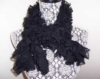 Black Lace Scarf, Long Boa, Frilly, Flower Pattern