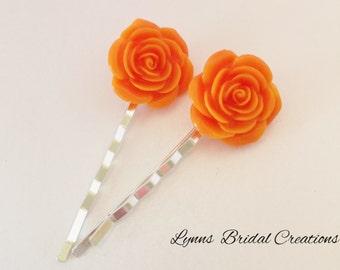 Coral Rose Hair Pin Bridesmaid Hair Pin Wedding Accessory Flower Hair Accessory Bridesmaid Gift Flower Girl Jewelry Coral Rose Jewellery