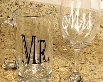 Mr. and Mrs. Beer mug and wine glass