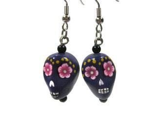 Hand Painted Sugar Skull Howlite Earrings