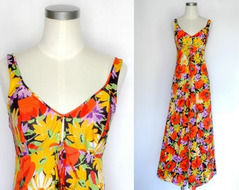 70s Daisy Floral Slip Dress / Nightgown / Olga Freedom Front Nylon
