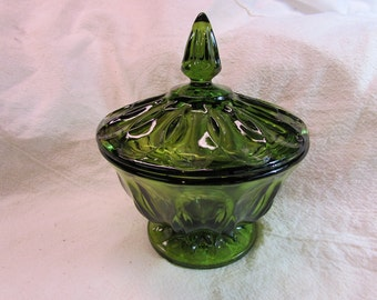 Dark Green Footed Candy Dish With Lid