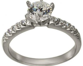 Engagement Ring Round Cut Diamond Pave Diamond White Gold Ring Diamond Ring
