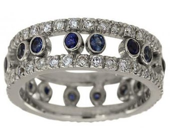 Classic Diamond And Sapphire Wedding Band 14Kt White Gold