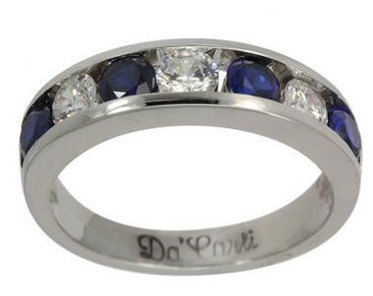 Sapphire Wedding Bands With Channel Diamonds 1.50 Carat