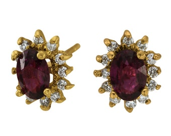 Two Ct Tw Ruby Ovals Surrounded By Diamonds 14Kt Yellow