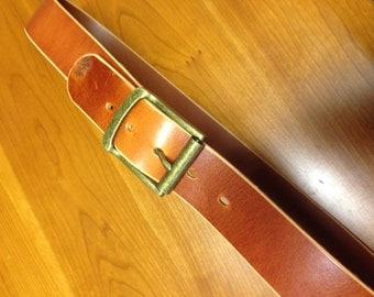 Handmade whiskey Italian leather work belt