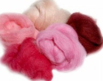 Extra Fine Merino 19 Micron Pink Palette for Felting
