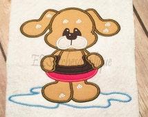 Summer dog  applique design -  Boys version