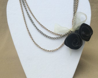 Layered Necklace with Vinyl Record Rose and Ribbon