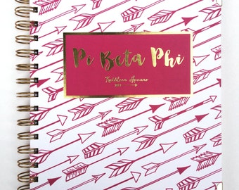 Pi Beta Phi Arrows Gold Embossed Notebook