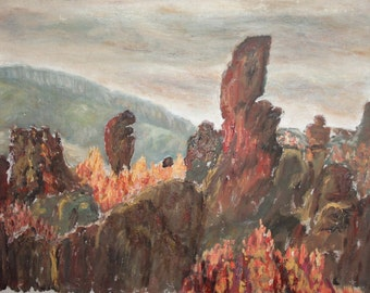 1979 oil landscape trees painting signed