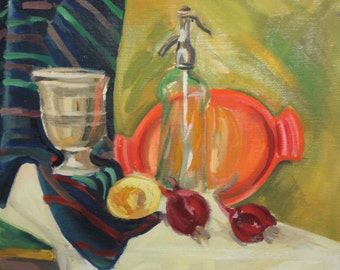 Vintage fruits still life oil painting