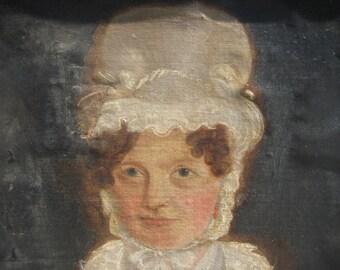 Charming Primitve Oil Portrait of a Woman, 1820-1830